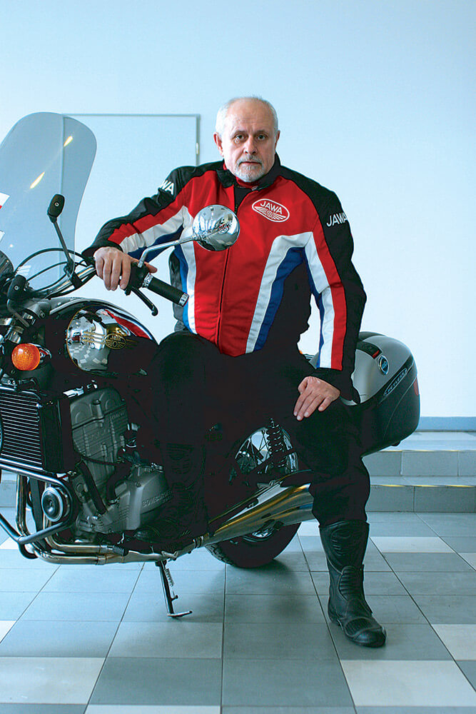 male business portrait on a motorcycle